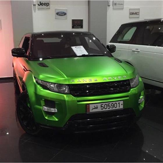 Range Rover Wrapped in Matte Green Chrome