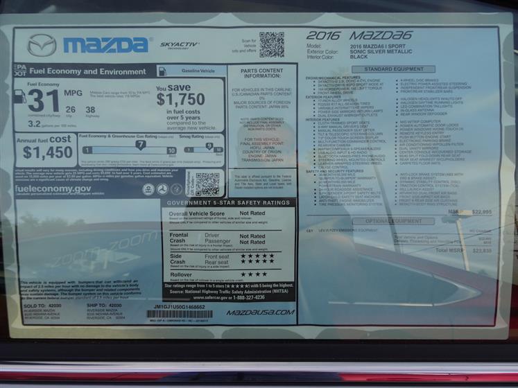 Silver 2016 Mazda Mazda6 Sport Zoom Zoom Package
