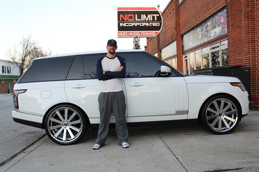 Michael Phelps with His Land Rover Range Rover