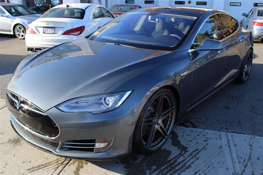 2014 Tesla Model S Lowered on 21″ BC Forged wheels
