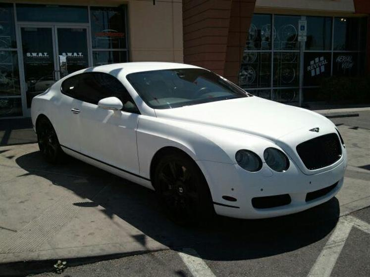 Bentley wrapped in Flat White Vinyl