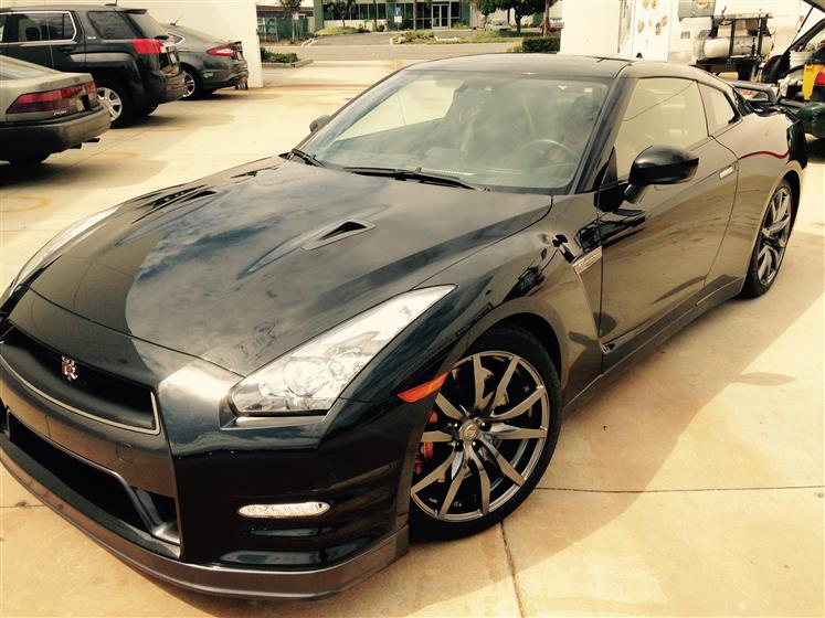 Washed and Waxed Black Nissan GT-R