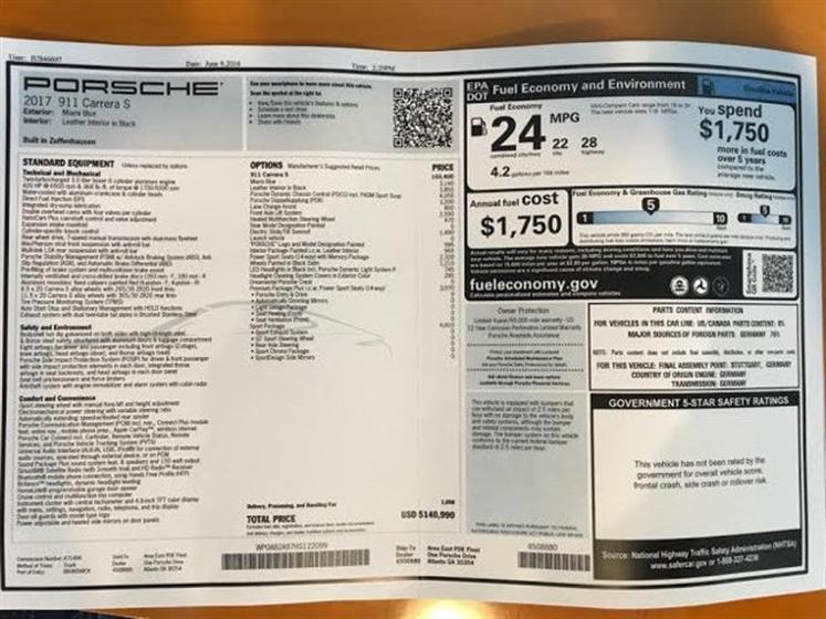 2017 Porsche 911 Carrera S Coupe $140,495