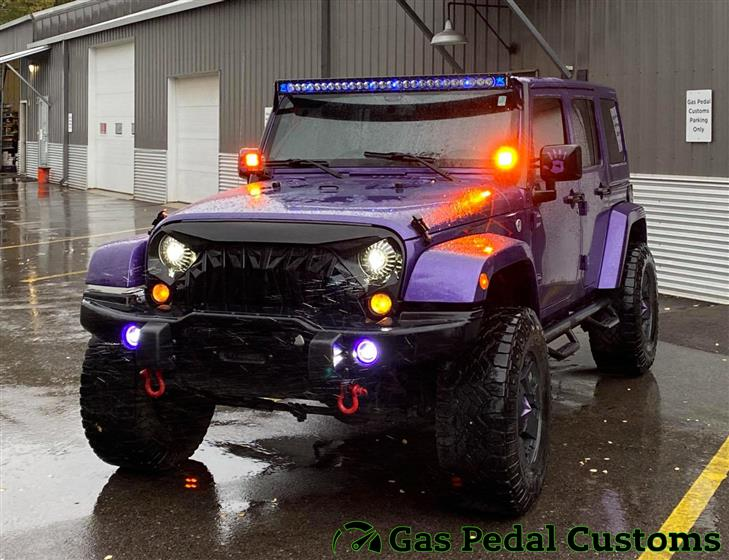Jeep Wrangler with Rigid Industries LED light bar