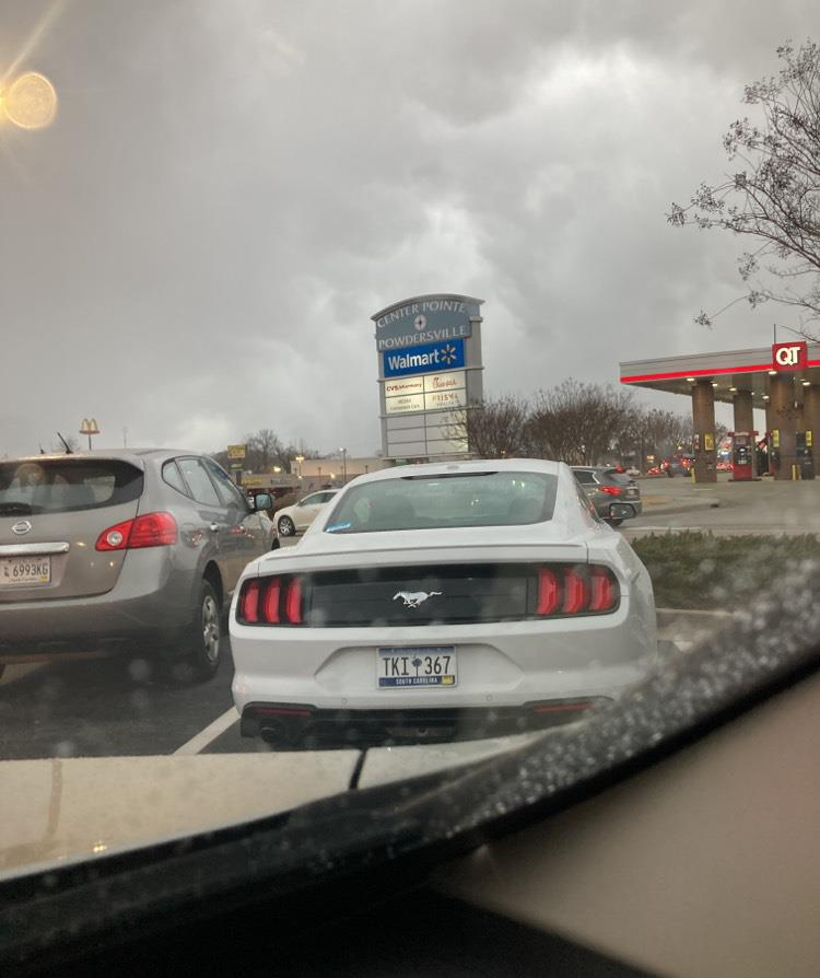 mustang in the chick fil a drive through