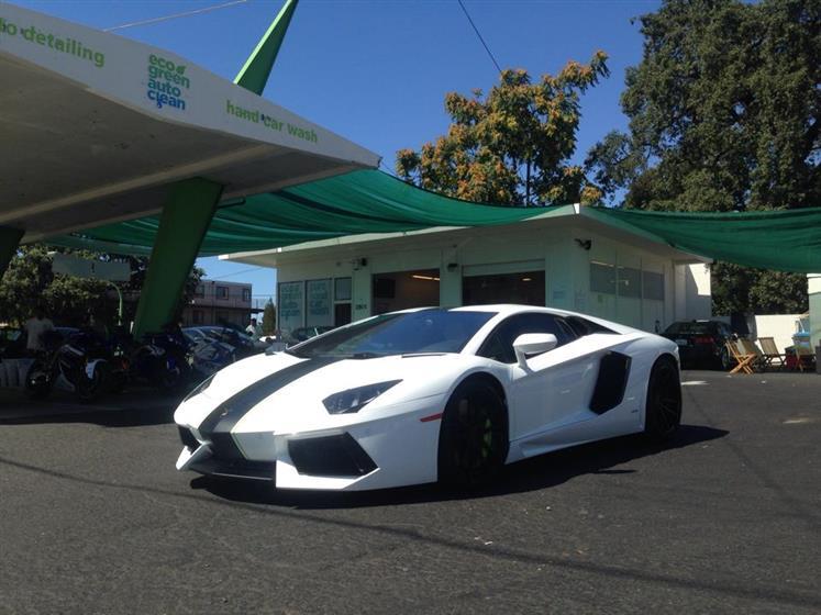 White Lamborghini Aventador with Racing Stripes